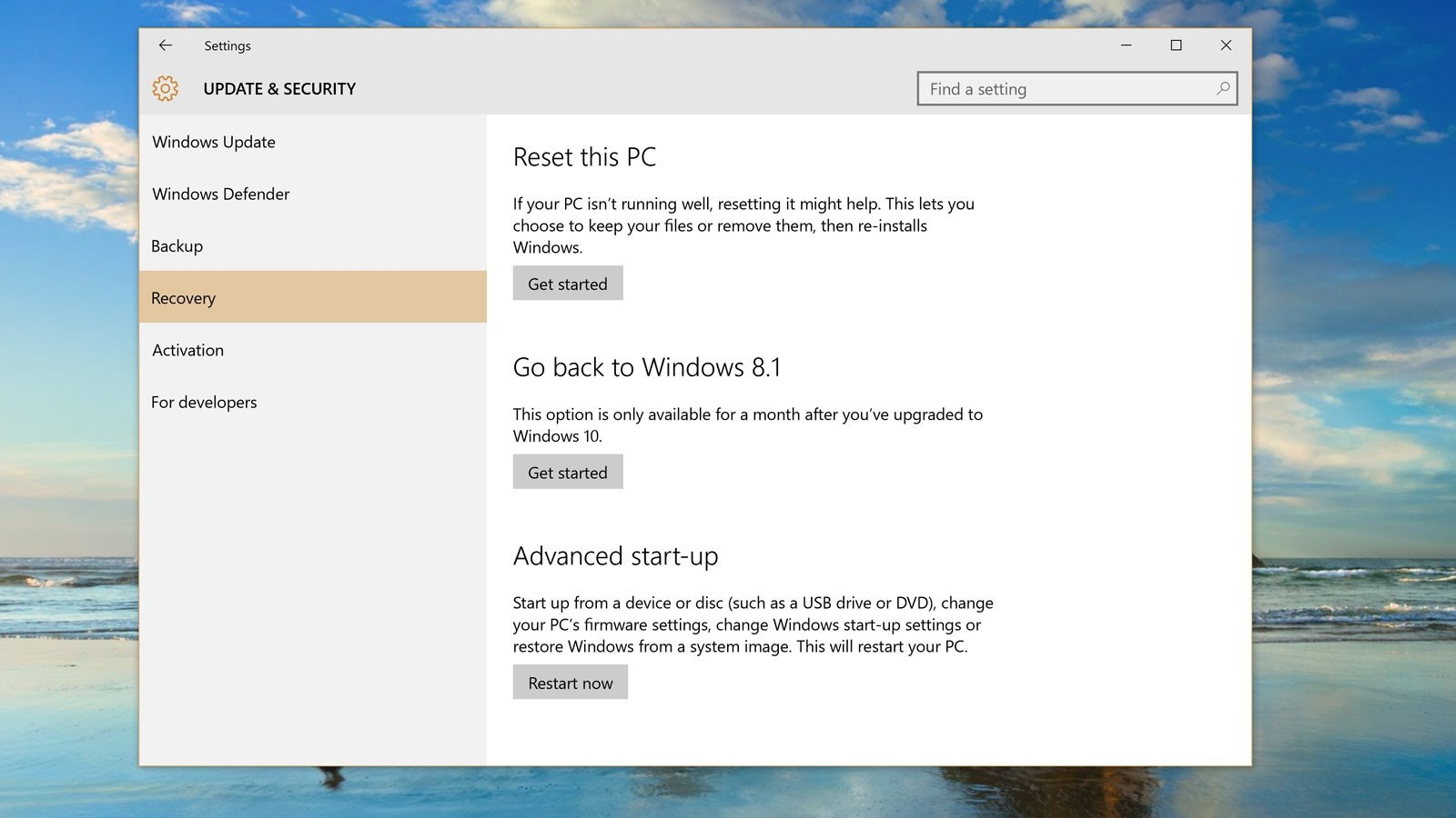 Downgrade Windows 10 - Step 3