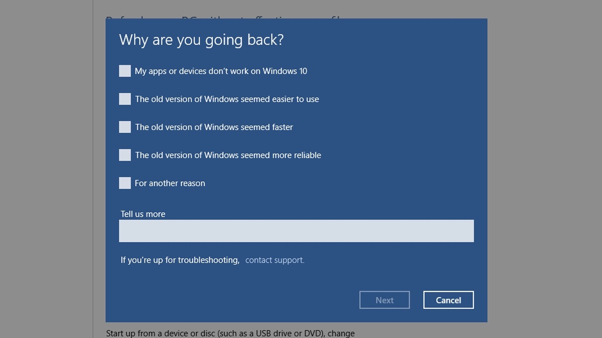 Downgrade Windows 10 - Step 4