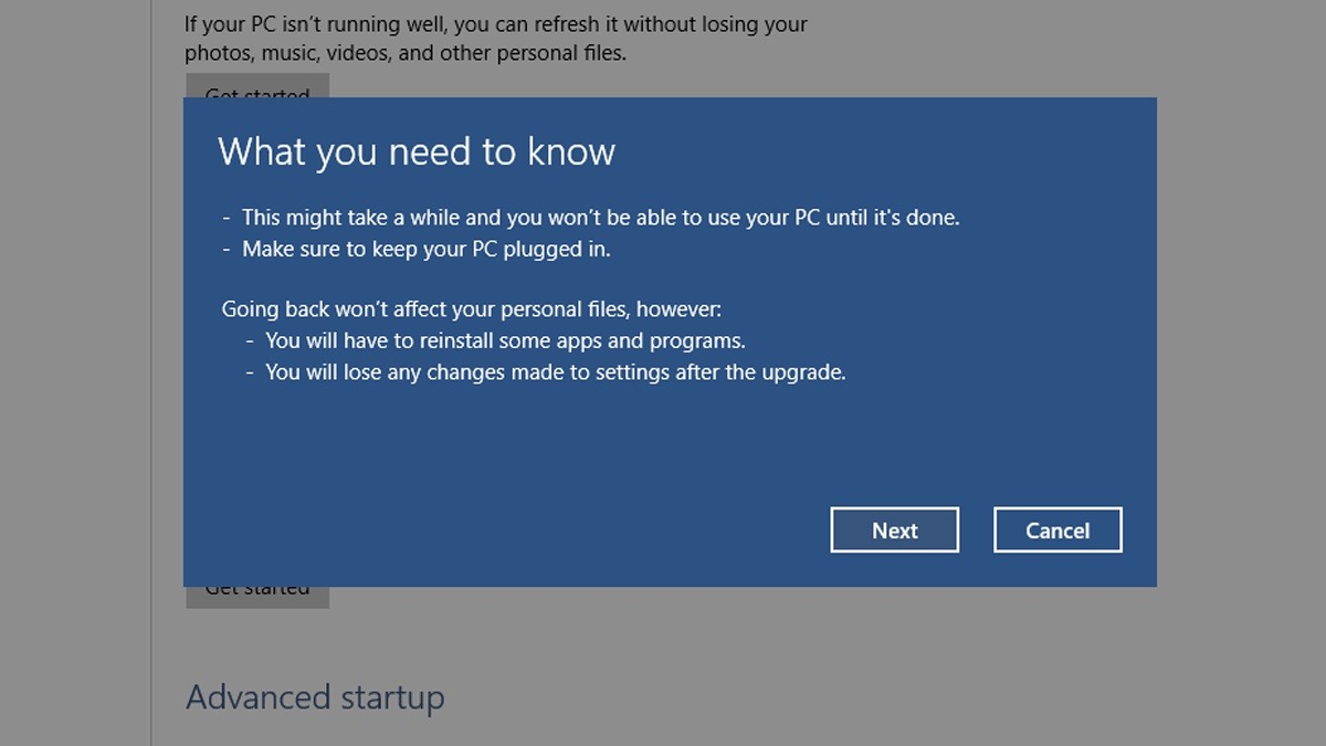 Downgrade Windows - Step 5
